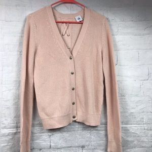 CAbi Pink Cardigan Sweater Sz M Button Front